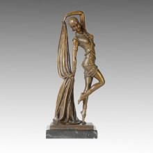 Dancer Bronze Sculpture Pretty Girl Deco Brass Statue TPE-361