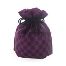 Purple Checkered Japan Style Drawstring Bag
