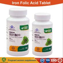 Meilleur comprimé d'acide folique de fer pour les femmes enceintes comprimé de supplément OEM