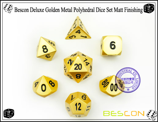 Bescon Deluxe Golden Metal Polyhedral Dice Set Matt Finishing-7
