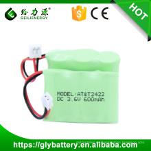 2 / 3aa wiederaufladbare nimh akku 3,6 v 600 mah schnurlose handy batterie
