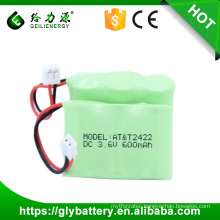 2/3aa rechargeable nimh battery pack 3.6v 600mah cordless phone battery