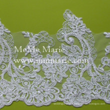 Chantilly Lace Fabric Flower Trim Sequined Lace Fabric for Garment CT367C4