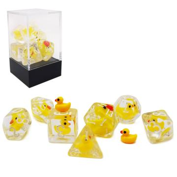 Bescon YellowDuck RPG Würfel 7er Set, Neuheit Yellow Duck Polyhedral Game Würfel Set