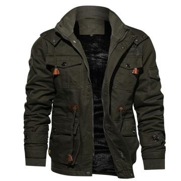 Chaqueta de chándal de estilo militar cálido de lana gruesa de invierno