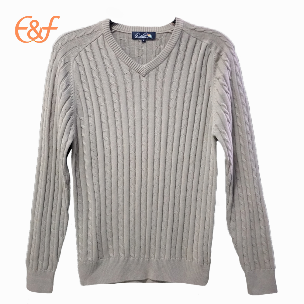 Fashion V-neck Cable Knitted 100%Cotton Men Sweater