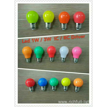 LED COLOR BULBS G45 1W