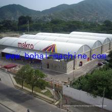 Máquina de construcción de techo de arco Bohai en el suelo