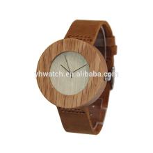 Boîtier en bambou et bracelet en cuir véritable montres unisexe en bois