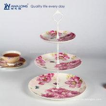 Tres capas de flores rojas de estilo único Platos de diseño de Navidad, placas de cerámica fina y platos