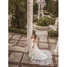Romantische Art appliqued Zug Braut Hochzeitsfest Kleid aus Schulter chinesischen Brautkleid
