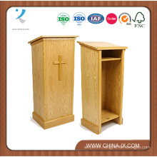 Traditional Wood Pulpit with Open Shelving in Back