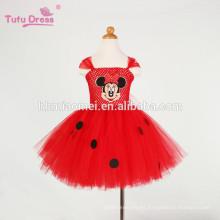 Vestido de las muchachas del bebé de la historieta del vestido rojo del tutú de la muchacha de los niños Vestido de cumpleaños del partido de Tulle lindo Traje de la Navidad de los niños