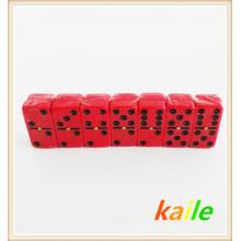 Duplo 6 plástico preto tinta vermelha dominó com caixa de plástico