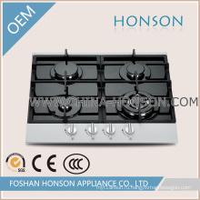 Четыре конфорки закаленное стекло газовая плита панель для кухонного прибора
