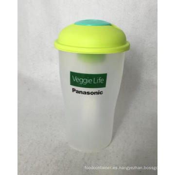 BPA Free Vegetable and Fruit Use Ensalada Shaker Cup con tenedor