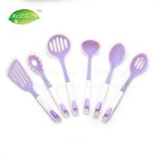 Juego de 6 utensilios de cocina de silicona con mango de plástico
