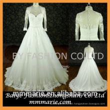 Vestido de casamento muçulmano de manga comprida Casaco de noivado Aplicado Ver através do vestido de noiva de renda