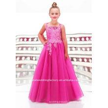 Новое прибытие аппликация бисероплетение на заказ pageant платье девушки цветка платья CWFaf3353