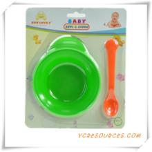 Childern Sichere Tragbare Baby Löffel und Gabel Baby Geschirr Set 2015 Werbegeschenk für Baby Pflege mit einer Schüssel (HA78041)