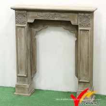 Antique French Country Farmhouse Decorative Freestanding Wooden Fireplace Mantel