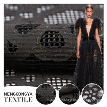 Hot sale latest design tulle black laser cut lace fabric for dress