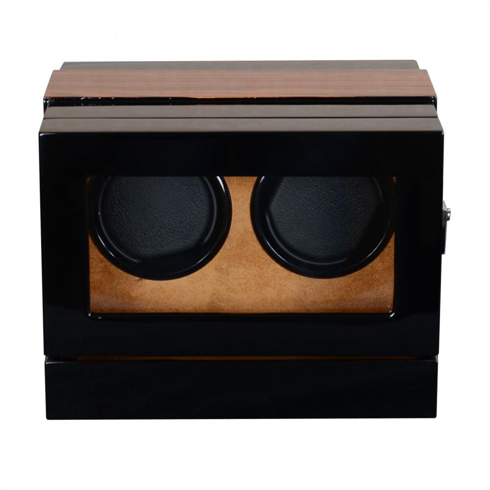 Ww 8201 Zebra Wood Watch Winder With Khaki Velvet