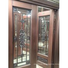 Außentür Edelstahl Kupfer mit zwei Seitenscheiben und oberen Fenster