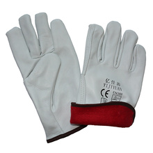 Goat Leather Work Driver Winter Warm Full Lining Gloves