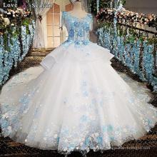 LS00170 O-cuello manga de la tapa appliques flor patrones vestidos para la boda bohemio vestidos de novia vestidos