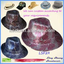 2013 Popular Sequins hat Cheap Fabric Fedora Hat sequin cowboy hat,LSF29