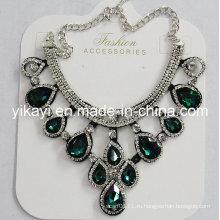 Леди модные ювелирные изделия зеленый стекло Кристалл Водослива Кулон ожерелье (JE0211-зеленый)