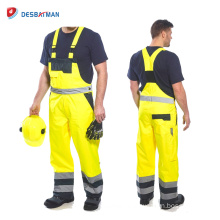 High Visibility Yellow Contrast Safety Work Overalls,Mens Jumpsuits with Reflective Tapes and 6 Pockets Top En 20471