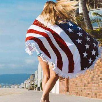 100% algodón impreso toalla de playa redonda con borla