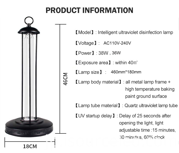 Hot Sell Small Room 38w led Sterilizing Lamp