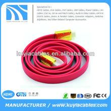 Высокое качество позолоченный 3m красный плоский кабель HDMI лапши MALE TO MALE кабель 1.4v 1080p Ethernet 3D