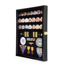 14x18 inch Custom Black Challenge Coin / Medals / Badges / Ribbons / Insignia / Buttons Chips Combo Display Case Box Cabinet