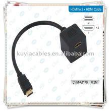 HDMI Male à 2HDMI Câble adaptateur femelle Splitter