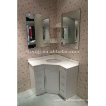 Branco, moderno, simplificar, espelho, esquina, banheiro, armário, vaidade