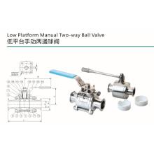Válvula de bola bidireccional manual de plataforma baja sanitaria