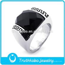 TKB-R0070 Acero inoxidable de alta calidad, alto pulido, color negro, circonio cúbico, hombres de piedra, anillo de promesa para él y para ella