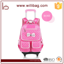 Fashion Rolling polyester Kids Trolley School Bag with Wheels