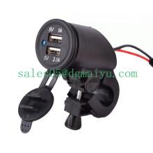 12V 2.1A Dual USB Motorrad Steckdose mit LED-Licht