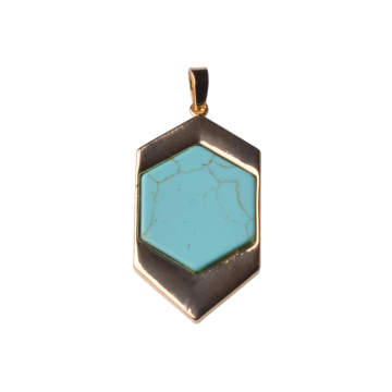 Turquoise Six Prism Pendant Plated Gold Jewelry