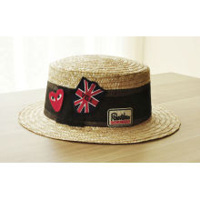 Summer Fashion Custom Union Jack Flag Embroidery Straw Bowler Hats China Factory