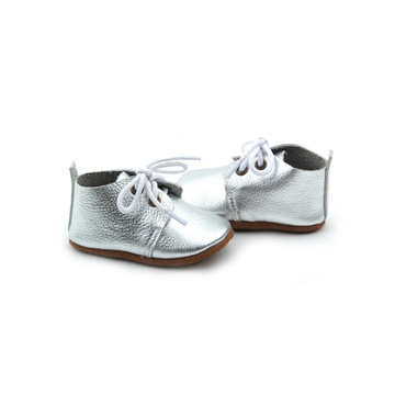 Wholesales Oxford Shoes Sliver Leather Baby Shoes