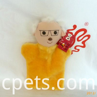 the aged plush hand puppet