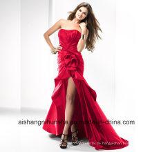 Frauen-Blumen-Satin-Sleeveless Backless Abend-Partei-Abschlussball-Kleid