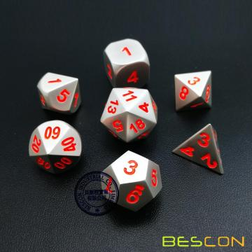 Bescon 7pcs Set Solid Metal Polyhedral D&D Dice Set Matt Silver with Orange Numbers, Metal RPG Role Playing Game Dice Set