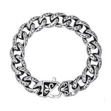 Bijoux en acier inoxydable hommes lien bracelets argent balck 8,3 pouces